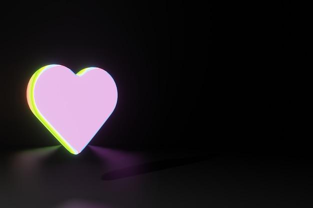 Animacja świecącego Kształtu Serca Walentynki Dla Renderowania 3d W Mediach Społecznościowych Premium Zdjęcia