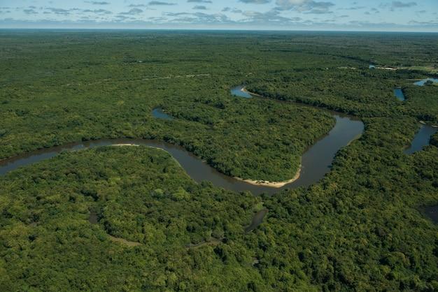Aquidauana, Mato Grosso Do Sul, Brazylia: Widok Z Lotu Ptaka Na Rio Negro (czarna Rzeka) Na Bagnach Brazylijskich, Znany Jako Pantanal Premium Zdjęcia