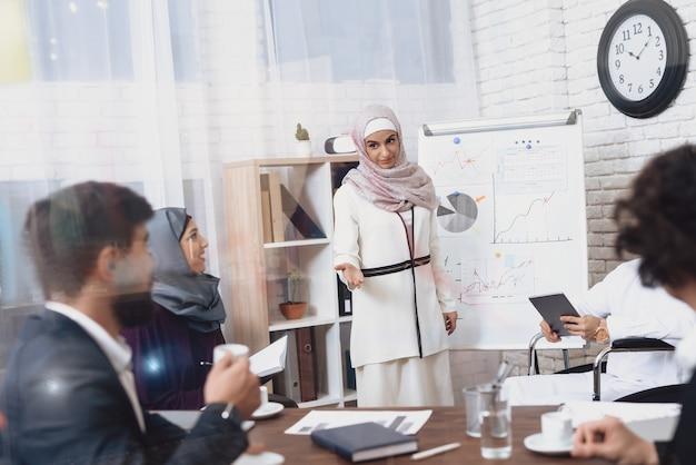 Arabska Kobieta W Biurze Pokazuje Pieniężnego Wykres. Premium Zdjęcia