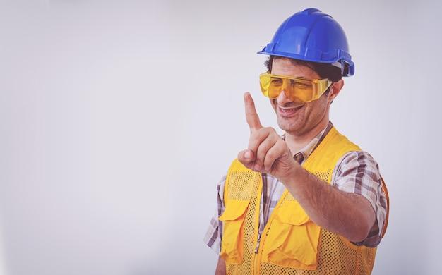 Arabski Mężczyzna Inżynier Nosić Kask Niebieski Czapka Premium Zdjęcia