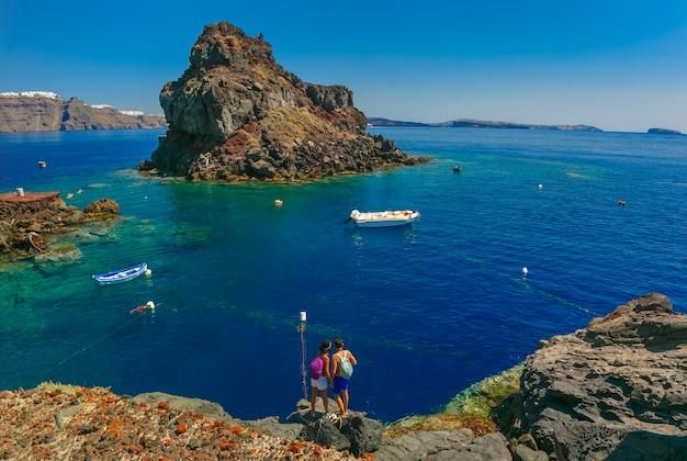 Armeni Bay Beach, Oia Lub Ia, Santorini, Grecja Premium Zdjęcia