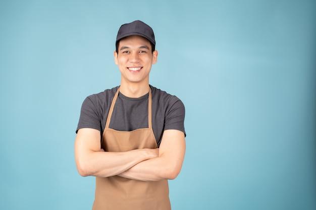 Asian man właściciel stojący Premium Zdjęcia