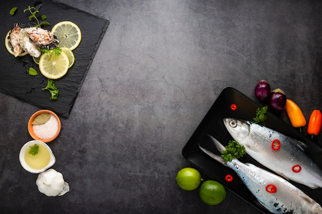 Asortyment Produktów Płaskich Z Owocami Morza I Kopiowaniem Darmowe Zdjęcia