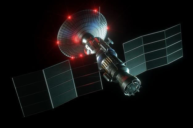 Astronautyczny Satelita Z Anteny Półkowej I Panelami Słonecznymi Odizolowywającymi Na Czerni ścianie. Telekomunikacja, Szybki Internet, Sondowanie, Eksploracja Kosmosu. 3d Odpłacają Się, 3d Ilustracja, Kopii Przestrzeń. Premium Zdjęcia