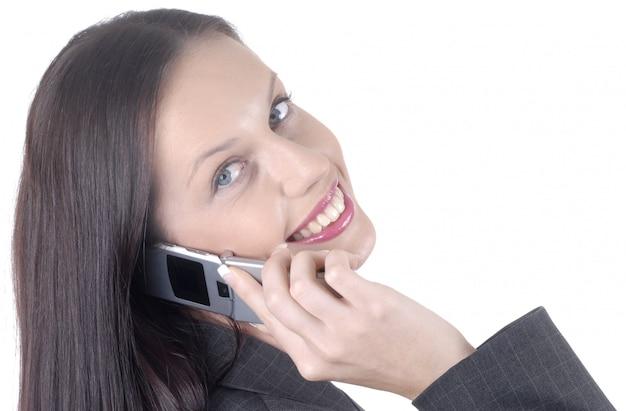 Atrakcyjna Biznesowa Kobieta Z Telefonem Komórkowym Premium Zdjęcia