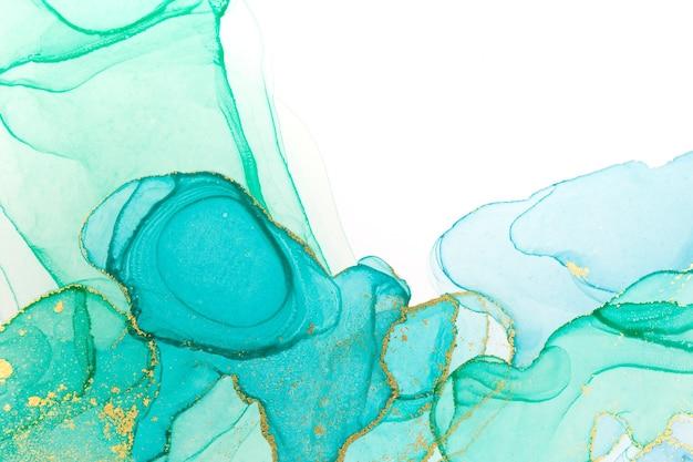 Atrament Alkoholowy Niebieski I Zielony Streszczenie Premium Zdjęcia