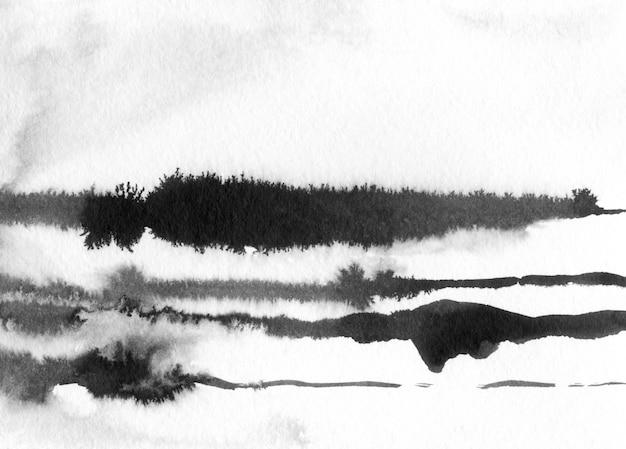 Atrament Streszczenie Krajobraz Ilustracja. Czarno-biały Atrament Zimowy Krajobraz Z Rzeką. Minimalistyczne Wyciągnąć Rękę Premium Zdjęcia
