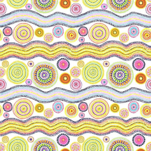 Australijski Design Z Kropkami - Kółkami I Falami. Wzór Premium Zdjęcia