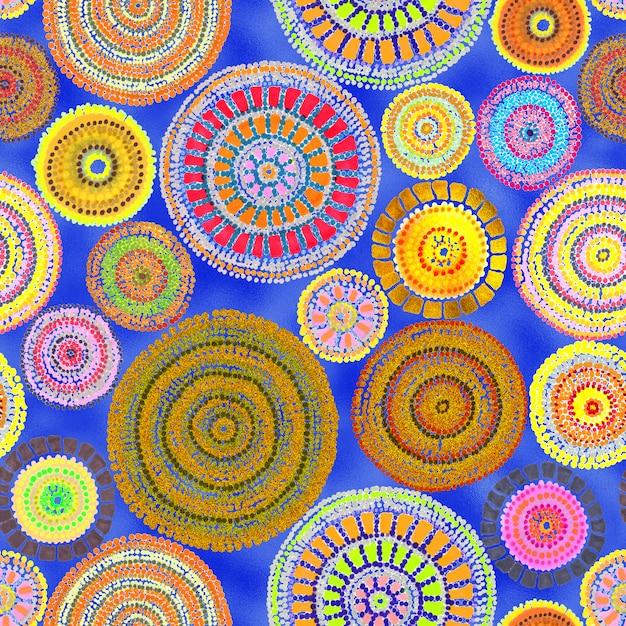 Australijski Wystrój Z Kropkami I Kółkami. Plemienny Wzór. Malowanie Ręczne Premium Zdjęcia