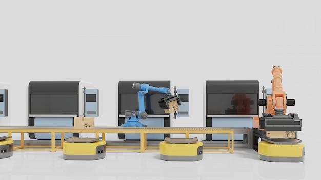 Automatyka Fabryczna Z Agv, Drukarkami 3d I Ramieniem Robota. Premium Zdjęcia