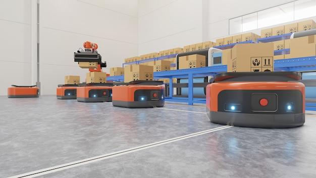 Automatyzacja Fabryki Z Agv I Ramieniem Robota W Transporcie, Aby Zwiększyć Bezpieczeństwo Transportu. Premium Zdjęcia