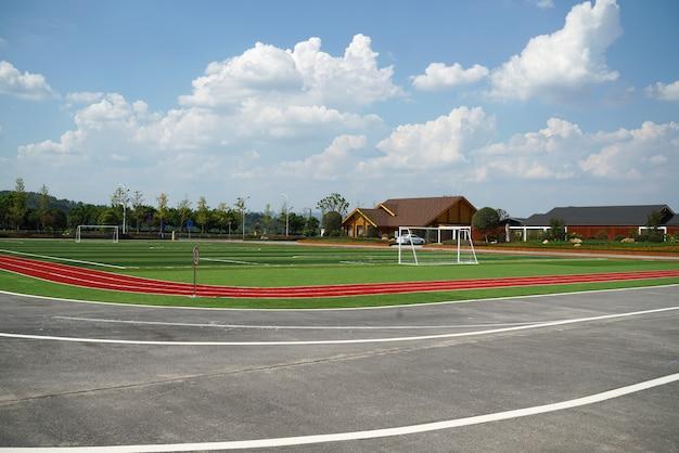 Autostrada i stadion w hali wystawowej na świeżym powietrzu Premium Zdjęcia