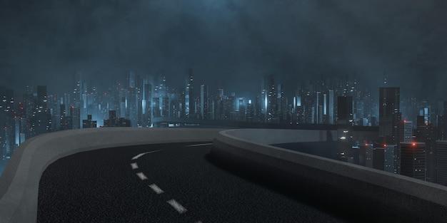 Autostrada I Widok Na Miasto W Nocy Premium Zdjęcia
