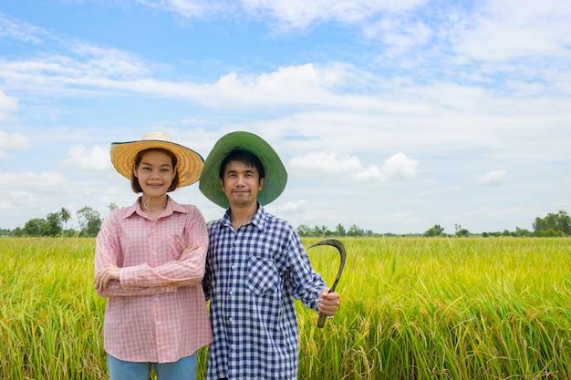 Azjatyccy rolnicy dobierają się mężczyzna i kobiety stoi uśmiecha się szczęśliwego przewożenie sierpa przy złotymi ryżowymi polami Premium Zdjęcia