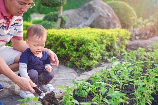 Azjatycki Ojciec Nauczanie Berbeć Chłopiec Sadzenia Młode Drzewo Na Czarnej Ziemi W Zielonym Ogrodzie Premium Zdjęcia