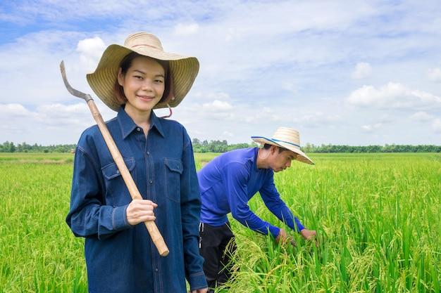 Azjatycki rolnik, kobieta trzymająca sprzęt rolniczy stojący uśmiechnięty na zielonych polach ryżowych a z tyłu zbierani byli mężczyźni Premium Zdjęcia