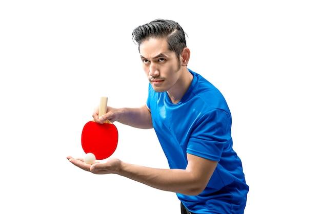 Azjatycki Tenisista Stołowy Człowiek W Pozycji Służącej Premium Zdjęcia