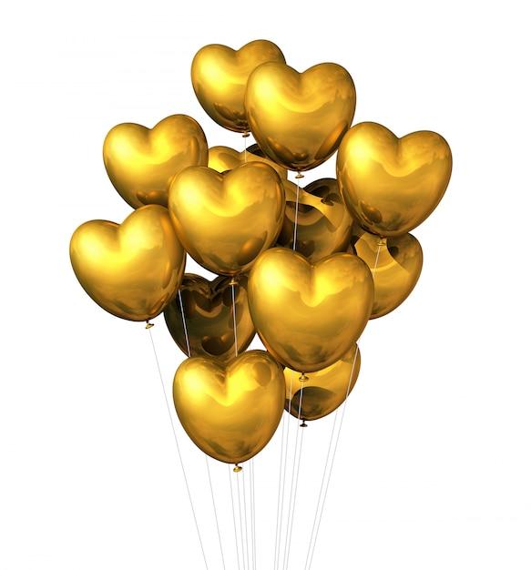 Balony w kształcie serca złota na białym tle Premium Zdjęcia