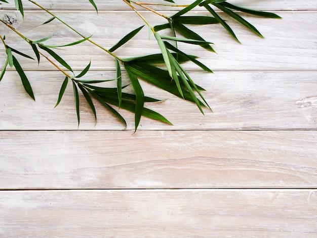 Bambusowi liście na biały drewnianym Premium Zdjęcia