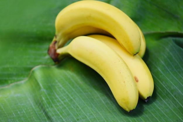 Banan na liściu bananowca Premium Zdjęcia