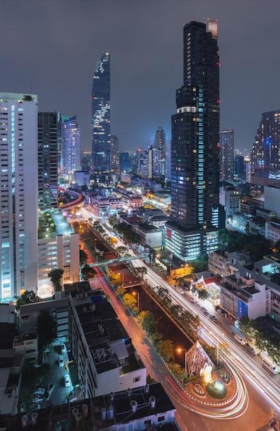 Bangkok miasto, tajlandia przy nocą Premium Zdjęcia