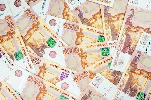 Banknoty rosyjskie pieniądze Premium Zdjęcia