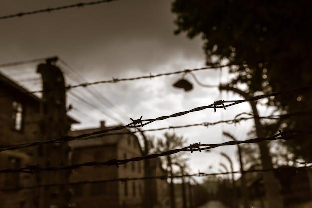 Baraki I Ogrodzenie, Niemiecki Obóz Zagłady Auschwitz Ii Premium Zdjęcia