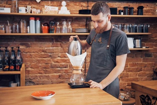Barista Przygotuj Kawę Koncepcja Zlecenia Roboczego Premium Zdjęcia