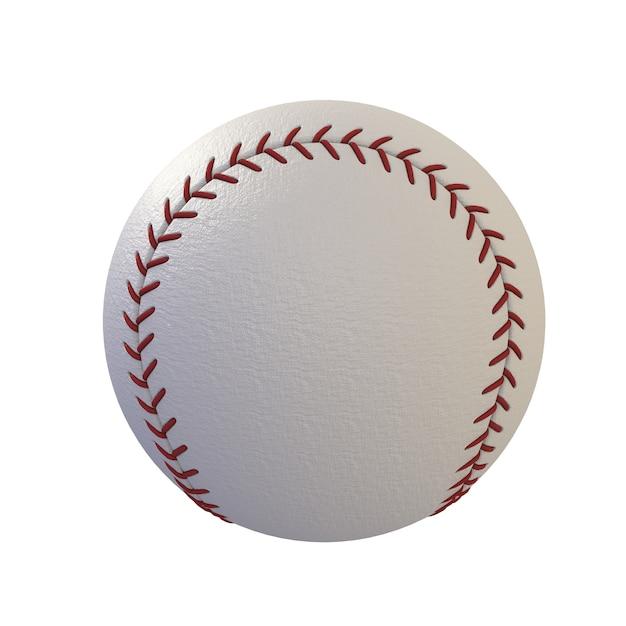 Baseball Odizolowywający Na Białym Tle, 3d Rendering Premium Zdjęcia
