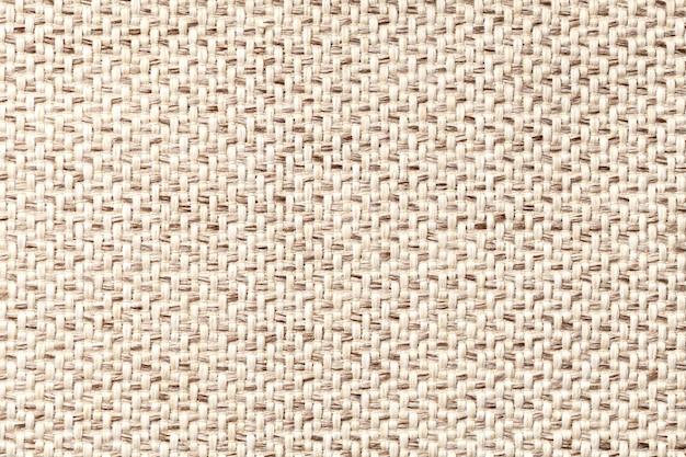 Beżowa Rocznik Tkanina Z Tkanym Tekstury Zbliżeniem. Tło Makro Włókienniczych Premium Zdjęcia