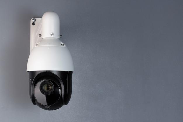 Bezpieczeństwo Wideo Kamery Cctv Nadzoru Z Przestrzenią Na Niebieskim Tle. Premium Zdjęcia