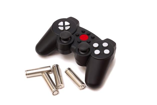Bezprzewodowy Gamepad Z Konsoli Do Gier I Baterie Do Niego Premium Zdjęcia