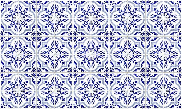 Bezszwowa Płytka Azulejo Z Portugalii Lub Hiszpanii. Wysoka Rozdzielczość. Premium Zdjęcia
