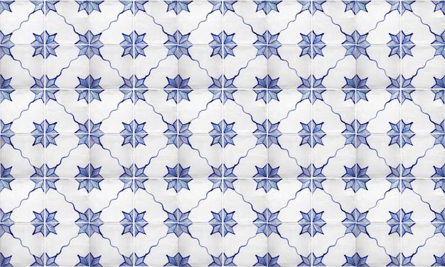 Bezszwowe portugalia lub hiszpania azulejo tło płytek Premium Zdjęcia