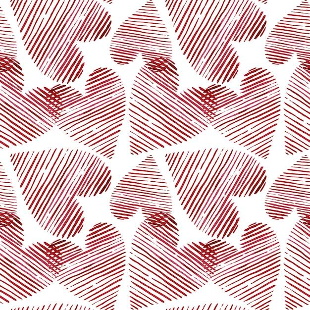 Bezszwowe Tło Serca Akwarela. Wzór Różowy Serce Akwarela. Kolorowa Akwarela Romantyczna Tekstura. - Ilustracja. Premium Zdjęcia