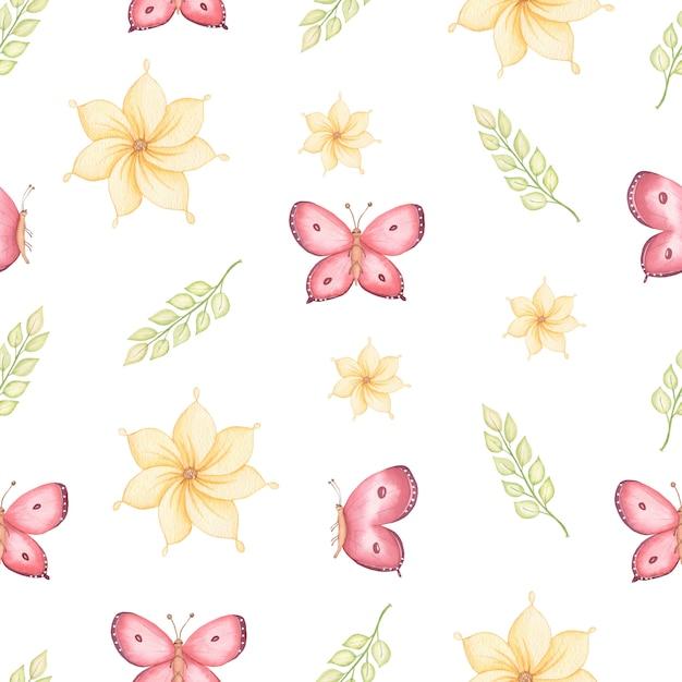 Bezszwowe wiosna wzór żółte kwiaty, zielone liście i latające motyle. ręcznie rysowane akwarela ilustracja. Premium Zdjęcia