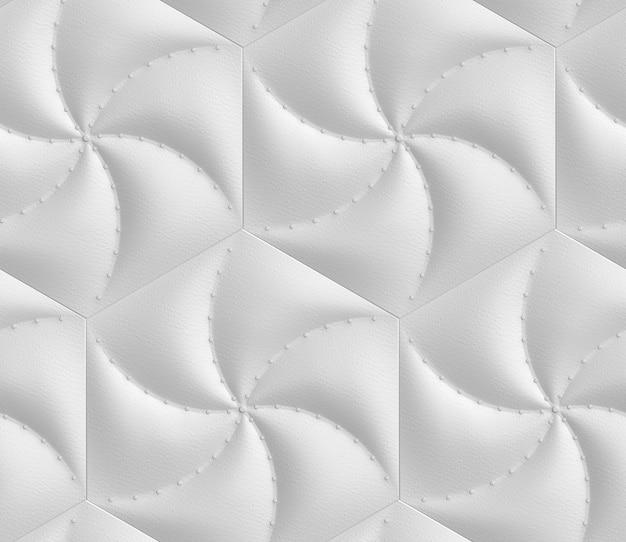 Bezszwowy Wzór 3d Z Imitacji Jasnoszarych Miękkich Paneli W Kształcie Sześciokątów Tapicerowanych Skórą I Ozdobnymi Gwoździami. Premium Zdjęcia