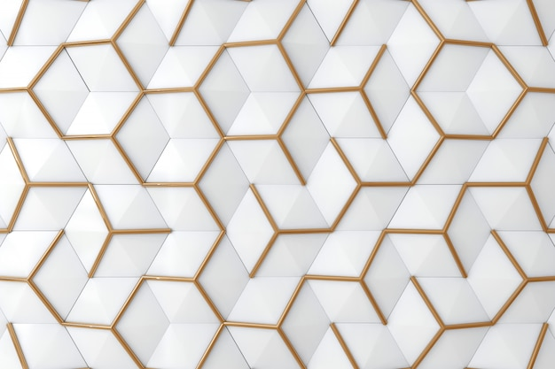 Biała I Złota 3d ściana Dla Tła Premium Zdjęcia
