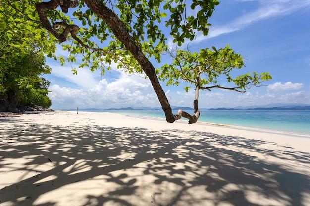 Biała Piaszczysta Plaża W Słoneczny Dzień Na Wyspie Kham-tok (koh-kam-tok), Prowincja Ranong, Tajlandia. Premium Zdjęcia