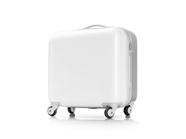 Biała Plastikowa Walizka Lub Bagaż Odizolowywający Na Bielu Premium Zdjęcia