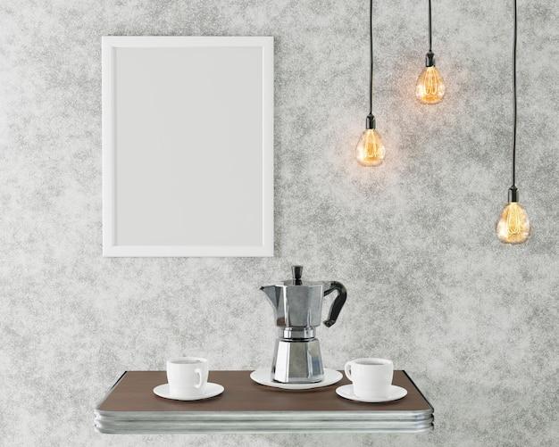 Biała Ramka Na Zdjęcie We Wnętrzu Loftu. Kawiarnia Koncepcyjna. Renderowania 3d Premium Zdjęcia