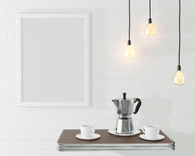 Biała Ramka Na Zdjęcie We Wnętrzu Loftu. Konceptualna Kawiarnia Z Murem I Zabytkowymi Lampami. Renderowania 3d Premium Zdjęcia