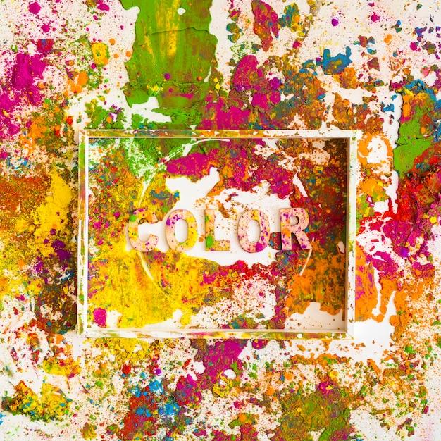 Biała ramka z kolorowym napisem na jasnych suchych kolorach Darmowe Zdjęcia