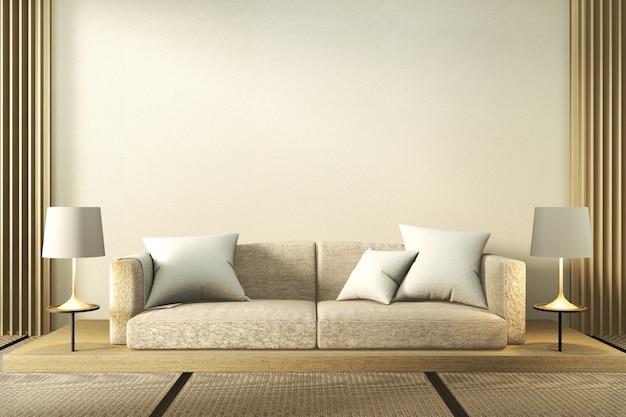 Biała Sofa I Lampy W Minimalistycznym Salonie Premium Zdjęcia