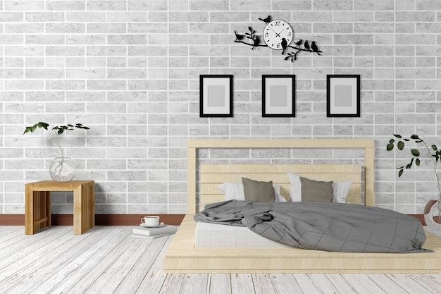 Biała Sypialnia W Stylu Minimalistycznym I Loftowym Zdjęcie