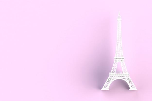 Biała Wieża Eiffla Na Różowo Premium Zdjęcia