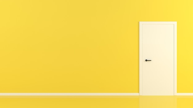 Białe Drzwi Na żółtym Pokoju Kontrast Streszczenie Koncepcja Premium Zdjęcia