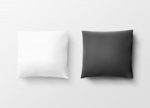 Białe i czarne poszewki na poduszki Premium Zdjęcia