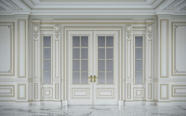 Białe panele ścienne w stylu klasycznym ze złoceniem. renderowania 3d Premium Zdjęcia