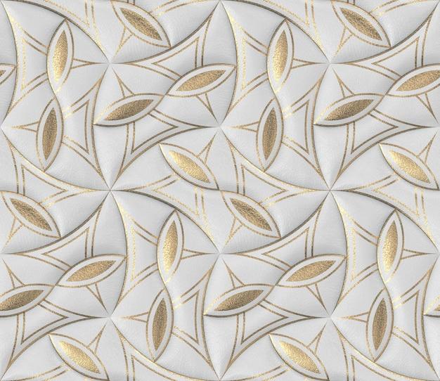 Białe Skórzane Płytki Ze Złotym Dekorem Klasycznej Tapety 3d Premium Zdjęcia